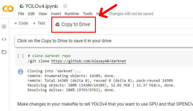 yolov4: Copy to Drive
