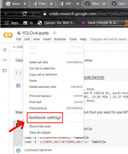 yolov4: Notebook Settings in Google Colab